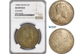 AG323, Straits Settlements, Edward VII, Dollar 1904-B, Bombay, Silver, NGC AU Details