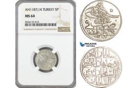 AG329, Ottoman Empire, Turkey, Abdülhamid I, 5 Para AH1187/4, NGC MS64, Pop 1/0