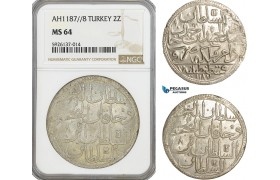 AG330, Ottoman Empire, Turkey, Abdülhamid I, 2 Zolota AH1187/8, NGC MS64