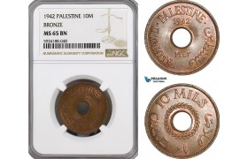 AG525, Palestine, 10 Mils 1942, Bronze, London, NGC MS65BN