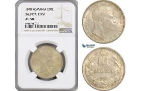 AG529, Romania, Carol II, 250 Lei 1940, Silver, NGC AU58