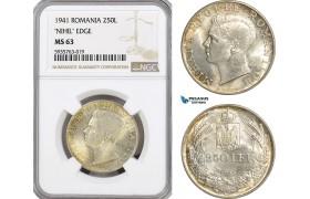 AG533, Romania, Mihai I, 250 lei 1941 (NSD) Silver, NGC MS63