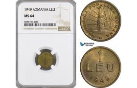 AG534, Romania, Peoples Republic, 1 Leu 1949, NGC MS64