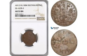 AG543, Netherlands East Indies, Singapore, Sultana, 1 Keping AH1219 / 1804, SS-10, PR-5, NGC AU53BN