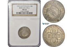 AG546, Switzerland, Bern, 2 1/2 Batzen 1826, Silver, NGC MS63