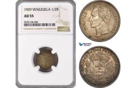 AG547-R, Venezuela, 1/2 Bolivar 1929, Philadelphia, Silver, NGC AU55