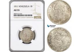 AG548, Venezuela, 1 Bolivar 1911, Paris, Silver, NGC AU55