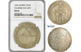 AG550, Austria, Salzburg, Paris von Lodron, Taler 1623, Silver, Dav-3497, NGC MS62