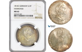 AG551, Germany, Hannover, George III of Great Britain, 2/3 Taler 1814-C, Clausthal, Silver, NGC MS62