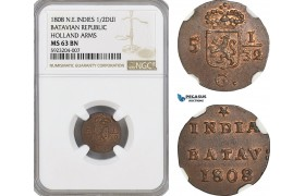 AG557, Netherlands East Indies, Batavian Rep. 1/2 Duit 1808, Holland Arms, NGC MS63BN
