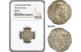 AG560, Transylvania, Stefan Bosckai, 3 Groschen 1605, Silver, NGC AU55