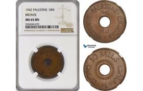 AG826, Palestine, 10 Mils 1942, Bronze, London, NGC MS65BN