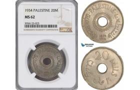 AG830, Palestine, 20 Mils 1934, London, NGC MS62, Rare!