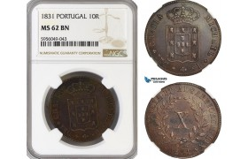 AG833, Portugal, Miguel I, 10 Reis 1831, NGC MS62BN
