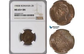 AG836, Romania, Carol I, 2 Bani 1900-B, Bucharest, NGC MS65+BN