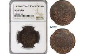 AG839, Romania, Carol I, 10 Bani 1867 Watt&Co, Birmingham, NGC MS63BN
