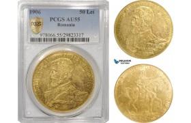 AG840, Romania, Carol I, 50 Lei ND (1906) Brussels, Gold, PCGS AU55, Rare!
