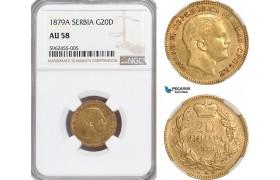 AG844, Serbia, Milan Obrenovic IV, 20 Dinara 1879-A, Paris, Gold, NGC AU58