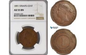 AG850, Straits Settlements, Victoria, 1 Cent 1891, NGC AU55BN