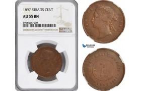 AG851, Straits Settlements, Victoria, 1 Cent 1897, NGC AU55BN