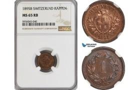 AG856, Switzerland, Rappen 1895-B, Bern, NGC MS65RB, Top Pop!