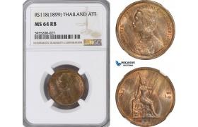 AG859, Thailand, Rama V, 1 Att RS118 (1899) NGC MS64RB