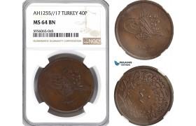 AG860, Ottoman Empire (Turkey) Abdülmecid, 40 Para AH1255/17, NGC MS64BN, Pop 1/0