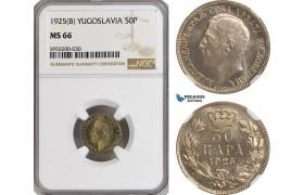 AG862, Yugoslavia, Alexander I, 50 Para 1925 (B), NGC MS66