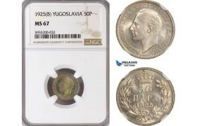 AG864, Yugoslavia, Alexander I, 50 Para 1925 (B), NGC MS67