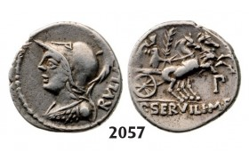 Lot: 2057. Roman Republic,  Servilius M.f Rullus (100 BC) Denarius, Rome, Silver (3.96g)
