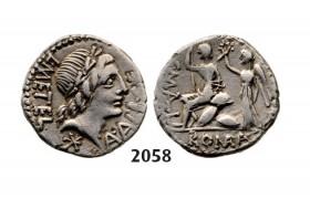 Lot: 2058. Roman Republic,  L. Caecilius Metellus, C. Publius Malleolus and A. Postuminus Sp.f. Albinus (96 BC) Denarius, Rome, Silver  (3.76g)