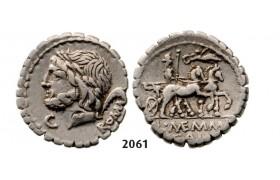 Lot: 2061. Roman Republic,  L. and C. Memmius L.f Galeria (87 BC) Denarius, Rome, Silver (3.93g)