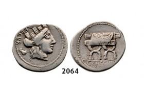 Lot: 2064. Roman Republic,  P. Furius Crassipes (84 BC) Denarius, Rome, Silver (3.78g)
