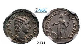 Lot: 2131. Roman Empire, Julia Mamaea, 222-235 AD, Denarius (Struck 222 AD) Rome, Silver (2.93g), NGC Ch AU
