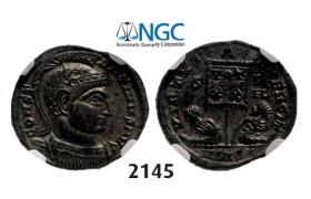 Lot: 2145. Roman Empire, Constantine I, 307-337 AD, Æ3 (Nummus) (Struck 320 AD) Siscia, Billon (2.32g), NGC MS