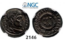 Lot: 2146. Roman Empire, Constantine I, 307-337 AD, Æ3 (Nummus) (Struck 321-324) Siscia, Billon (3.27g), NGC MS