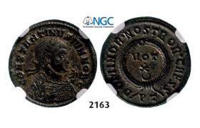 Lot: 2163. Roman Empire, Constantine II as Caesar, 337-361 AD, Æ3 (Nummus) (Struck 337-338 AD) Ticinum, Billon (2.55g), NGC AU
