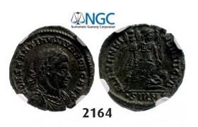 Lot: 2164. Roman Empire, Constantine II as Caesar, 337-361 AD, Æ3 (Nummus) (Struck 337-338 AD) Sirmium, Billon (2.50g), NGC Ch XF