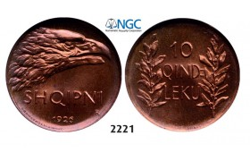 Lot: 2221. Albania, Ahmed Bey Zogu I, 1928-1939, 10 Qindar Leku 1926-R, Rome, NGC MS66RB