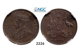 Lot: 2226. Australia, George V, 1910-­1936, Sixpence, 1918­-M, Melbourne, Silver, NGC XF45
