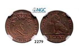 Lot: 2279. Belgium, Kingdom, Leopold I, 1831-1865, Centime 1858, Copper, NGC AU58BN