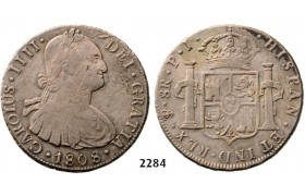 Lot: 2284. Bolivia, Spanish colony, Charles IV, 1788-1808, 8 Reales 1808-PTS/PJ, Potosi, Silver