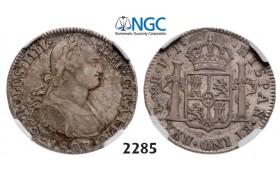 Lot: 2285. Bolivia, Spanish colony, Charles IV, 1788-1808, 2 Reales 1807-PTS/PJ, Potosi, Silver, NGC VF