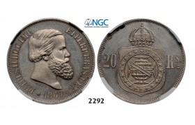 Lot: 2292. Brazil, Pedro II, 1831-­1889, Pattern 20 Reis 1869, Paris, Nickel, NGC MS64