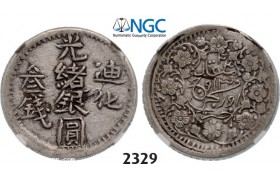 Lot: 2329. China, Sinkiang Province, 3 Miscals AH1324 (1906) Urumchi, Silver, NGC XF45