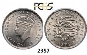 Lot: 2357. Cyprus, George VI, 1936-1952, 9 Piastres 1940, London, Silver, PCGS MS62