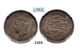Lot: 2358. Cyprus, George VI, 1936-1952, 4.5 Piastres 1938, London, Silver, NGC AU58