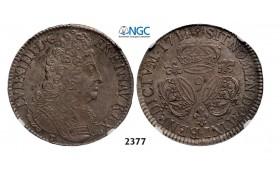 """Lot: 2377. France, Louis XIV, 1643-1715, Ecu 1709, Ecu 1711 """"9"""" Rennes, Silver, NGC AU58"""