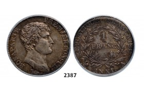 Lot: 2387. France, Napoleon as First Consul, 1799­-1804, Franc AN XI­-A (1802­-03) Paris, Silver, ICG MS61