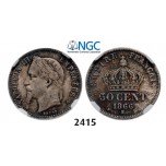 Lot: 2415. France, Napoleon III, 1852-1870, 50 Centimes 1866-BB, Strasbourg, Silver, NGC MS63